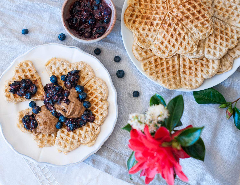 Oatmeal-waffles-raw-blueberry-chia-seeds-compote-lea-lou