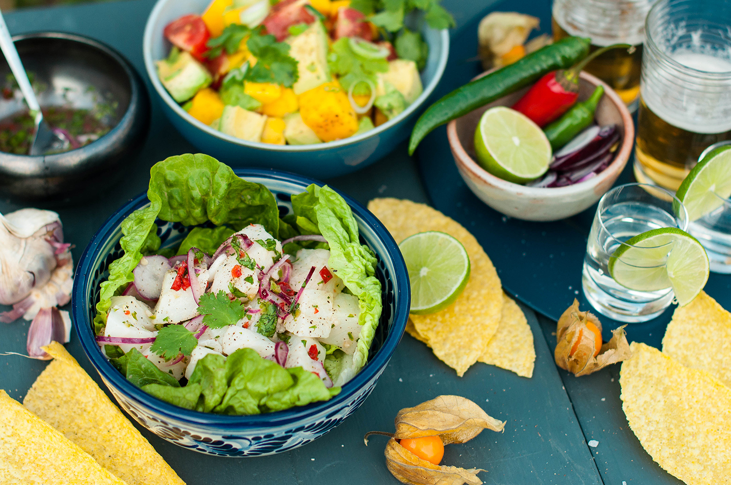 Summer Soul Food Ceviche With Mango Avocado And Tomato Salad
