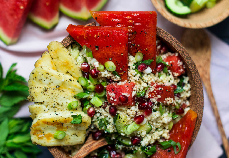 From my current food column: Cauliflower tabouleh with watermelon and grilled halloumi