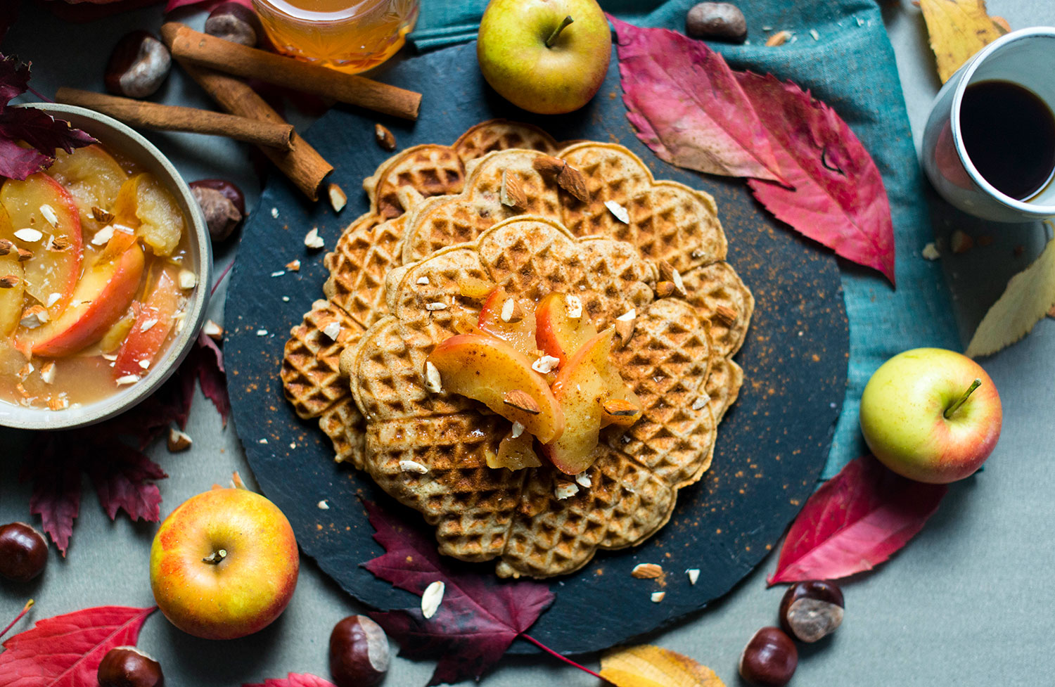 Marzipan-waffles-apple-compote-1
