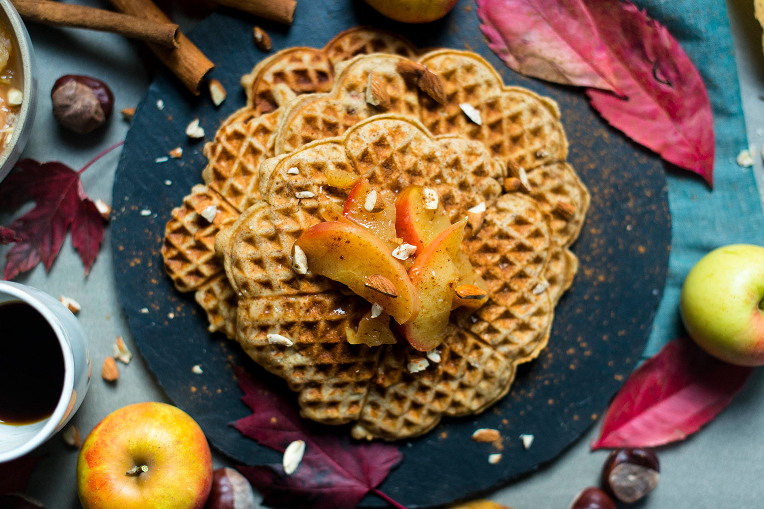 Marzipan-waffles-apple-compote-2