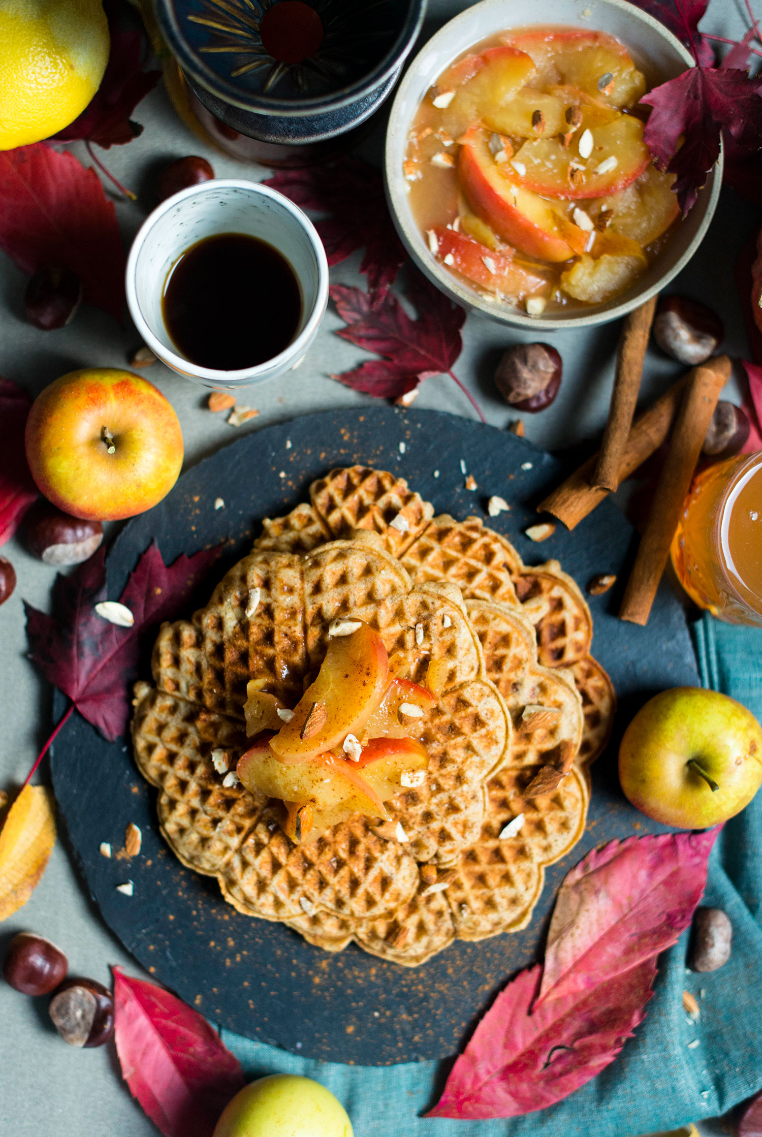 Marzipan-waffles-apple-compote-3
