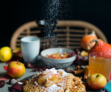 Marzipan-waffles-apple-compote