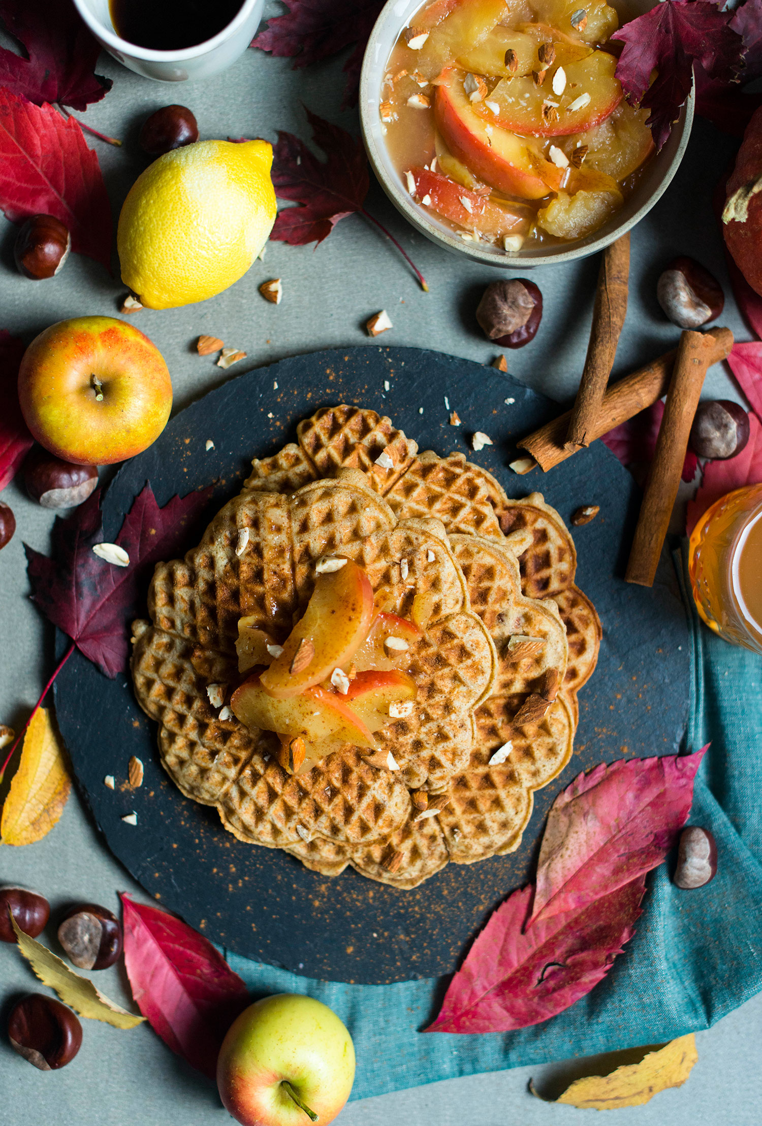 Marzipan-waffles-apple-compote-5