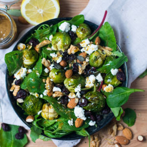 Salad with oven-roasted Brussels sprouts, cranberries and a nut vinaigrette
