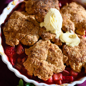 Rhubarb berry cobbler for some much needed spring mood